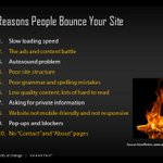 10 reasons why people bounce your site...6 of them have to do with structure and content. #GeoAgent http://t.co/Z9F2J8QZVN