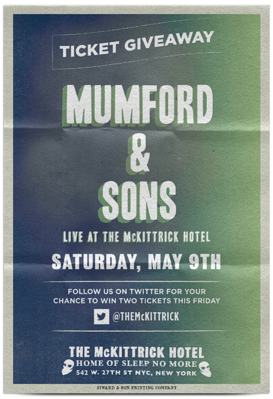Follow @TheMcKittrick for your chance at two tickets for @MumfordAndSons, live this Saturday. http://t.co/2w1sCiGPkx