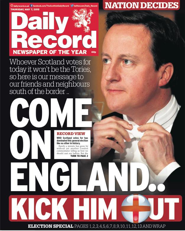 Thursday's daily record front page: come on england..kick ... Daily Record