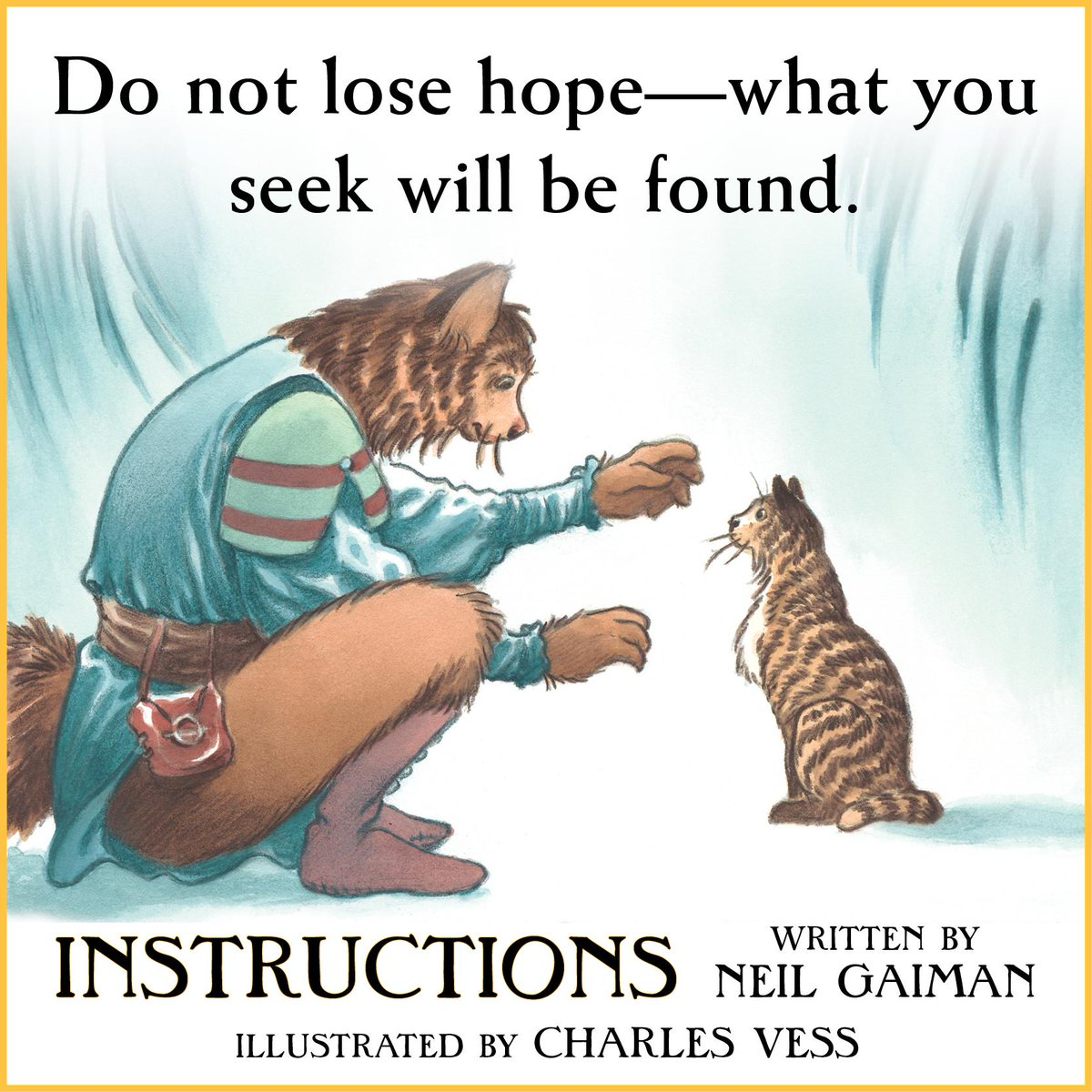 """Do not lose hope—what you seek will be found."" INSTRUCTIONS by @neilhimself is out! http://t.co/JCLiSeyoO6 http://t.co/hTkVggTXUG"