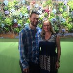 Sandy and Heather Levine by the living wall at #chartreusedetroit, opening May 19. #detroit #restaurants #foodie http://t.co/Lm0g7SvyRX