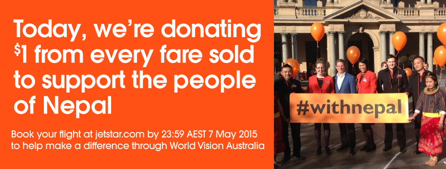 Today we're standing withNepal & donating $1 of every fare sold online to @WorldVisionAus