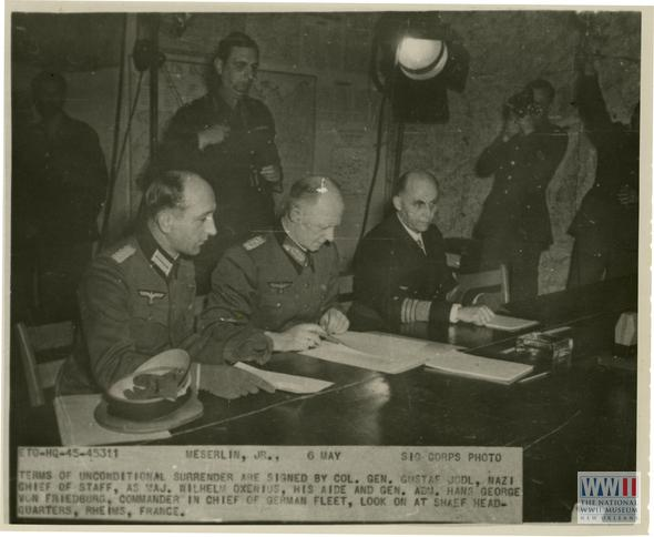 5/07/1945-#WWII in Europe officially ends w/ the unconditional surrender of Nazi Wermacht in Rheims, France. #VEDay http://t.co/lhCT9MOTLl