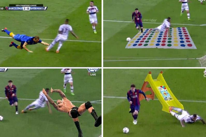 EN IMAGES - La chute de Jerome #Boateng face à Lionel Messi parodiée sur Internet > http://t.co/ZwRxNEeepD http://t.co/JzPYUTMApV
