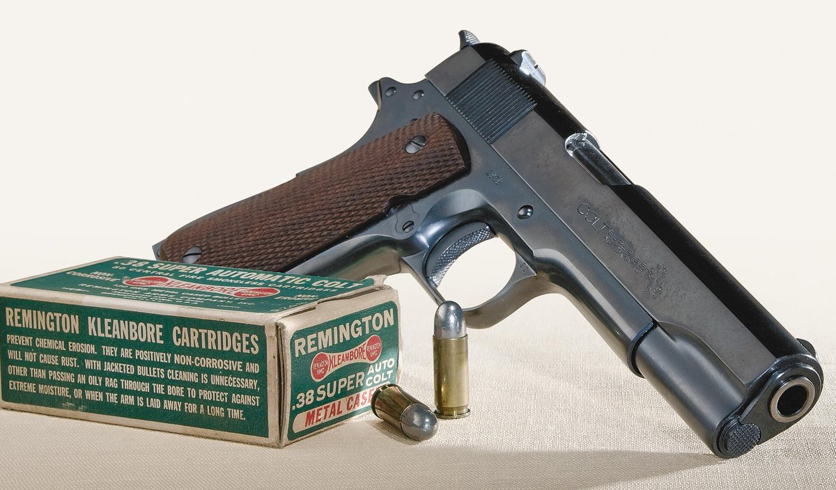 It's a @ColtFirearms 1911 in .38 Super, introduced in 1929, when it was the most powerful semi-auto pistol round.#tbt http://t.co/3Tkk6mXygS