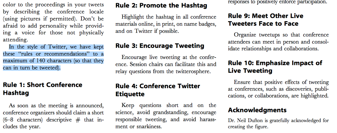 Ten Simple Rules of Live Tweeting at Scientific Conferences   http://t.co/wyYtPArLoo  H/T @EMARIANOMD http://t.co/lENNcMPLXg
