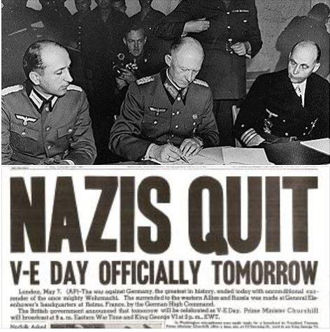 70 years ago today, Germany unconditionally surrendered to Allied forces to end WWII in Europe. #VEDay70 @USArmy http://t.co/PT5QE2fCU4