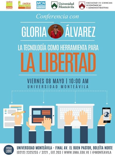 """Conferencia con Gloria Álvarez @crazyglorita """"La Tecnología como Herramienta para la Libertad"""" viernes 8 de mayo 10AM http://t.co/1Aq8noRtSp"""