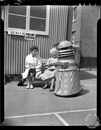 Person in Dalek costume outside polling station at Thanet, Kent. 1965 #DogsAtPollingStations #DaleksAtPollingStations http://t.co/LnWivC9Bol