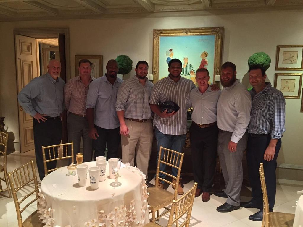 Lael Collins and the Cowboys at that difference making dinner at Jerry Jones' mansion. Romo, Witten, the oline, Jason http://t.co/k4gmWY5y3y
