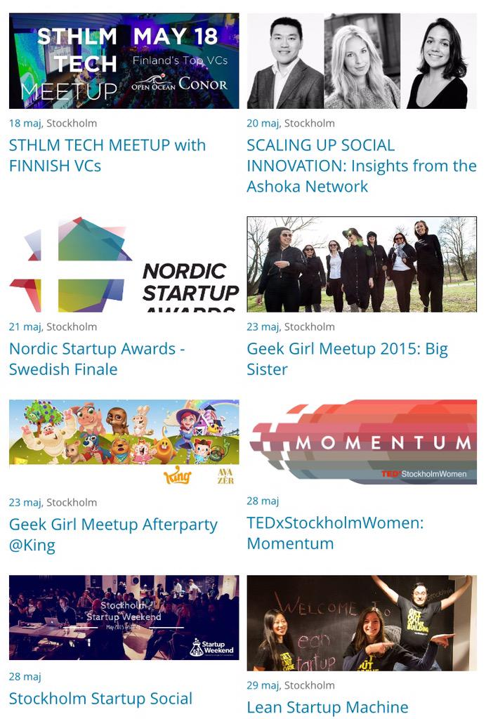 Startup events in Stockholm now = lots! Almost every day! Thanks http://t.co/FBVpmAIX1j for keeping track #sthlmtech http://t.co/Fpn2MGGkVT