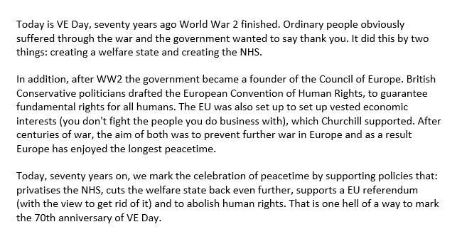 This is what I said on Facebook.  Today happens to be VE Day and this is how we're marking it. http://t.co/gA17IXx954