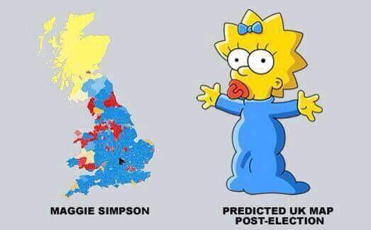 The new UK political map bears an uncanny resemblance to Maggie Simpson http://t.co/x85h7CLIEq (via @davehudson1962) #GE2015