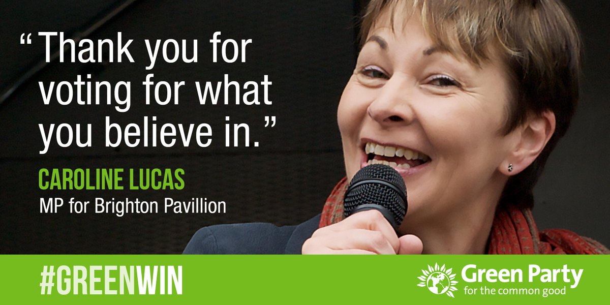 Congratulations @CarolineLucas - so happy to have you re-elected as a strong Green voice in British politics #GE2015 http://t.co/7GPXneAHfw