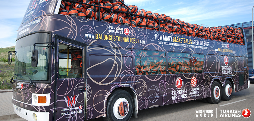 How many basketballs do you think are in the bus? Guess to win a trip to Istanbul!