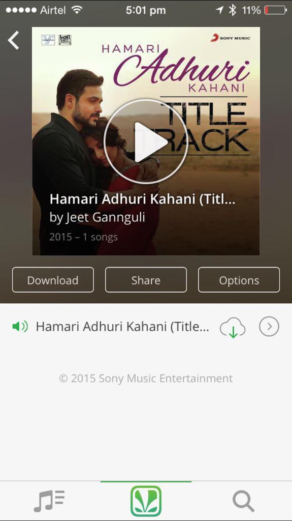 On loop fab song #HamariAdhuriKahaani @mohit11481 http://t.co/DGSRL8SwIT