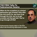 RT @thefirmupdate: TheFirmThisWeek: @Swamy39 on decriminalising defamation! Fri 10.30pm Sat 11.30am Sun 9.30pm & 11pm http://t.co/MSTMO3ffNd