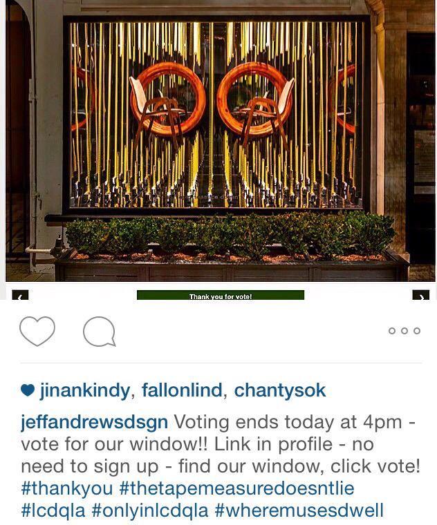 Need your vote to win best window design for LCDQLA http://t.co/Q7J88XChqH #pleaseandthankyou http://t.co/8i1ynnqYMn