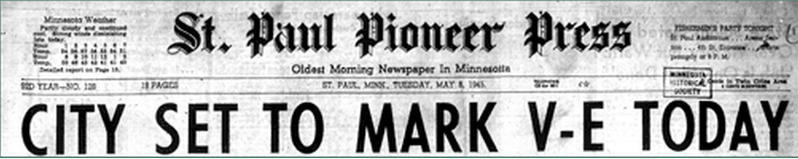 Check out more MN newspaper headlines celebrating VE day on May 8, 1945 via @mnhs:
