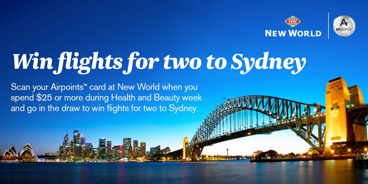 Swipe your Airpoints™ card at New World and be in to win two flights to Sydney!