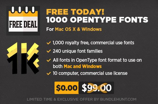 FREE Today! 1000 OpenType Fonts for Commercial Use! ($99 Value) http://t.co/hFubb118ku http://t.co/wJovbf4pk2