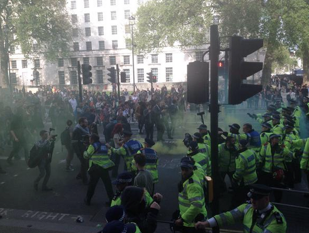 Picture from the current #GetToriesOut riots going on in London (picture not mine). http://t.co/OiaYoBXI5W