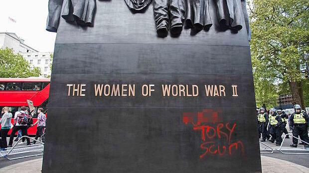 Protesters have defaced a Whitehall memorial for women in WWII. Appalling. http://t.co/iMPIAmEPul