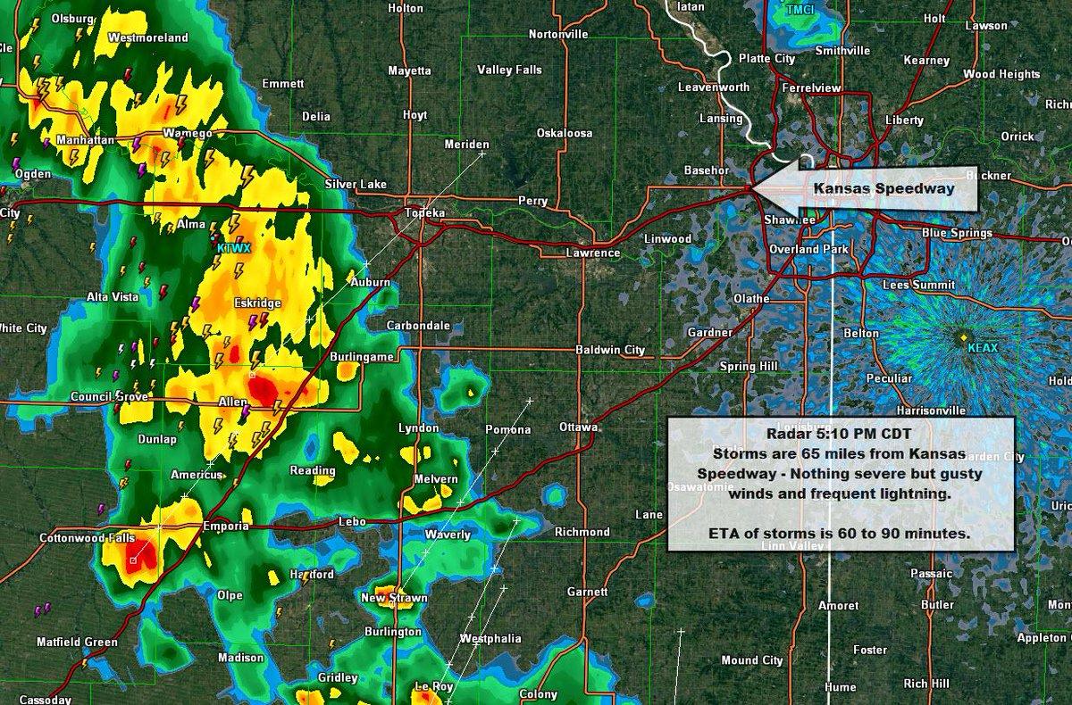 #NASCAR Radar update for @KansasSpeedway - Storms are 65 mi away est. ETA 60-90 min. http://t.co/ipKfhNCcZW