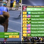 RT @JamaicaOlympics: Shelly-Ann Fraser-Pryce finishes 3rd in 200M 22.37. Shaunae Miller wins in 22.14 & Tori Bowie 22.29 #JAInvitational h…