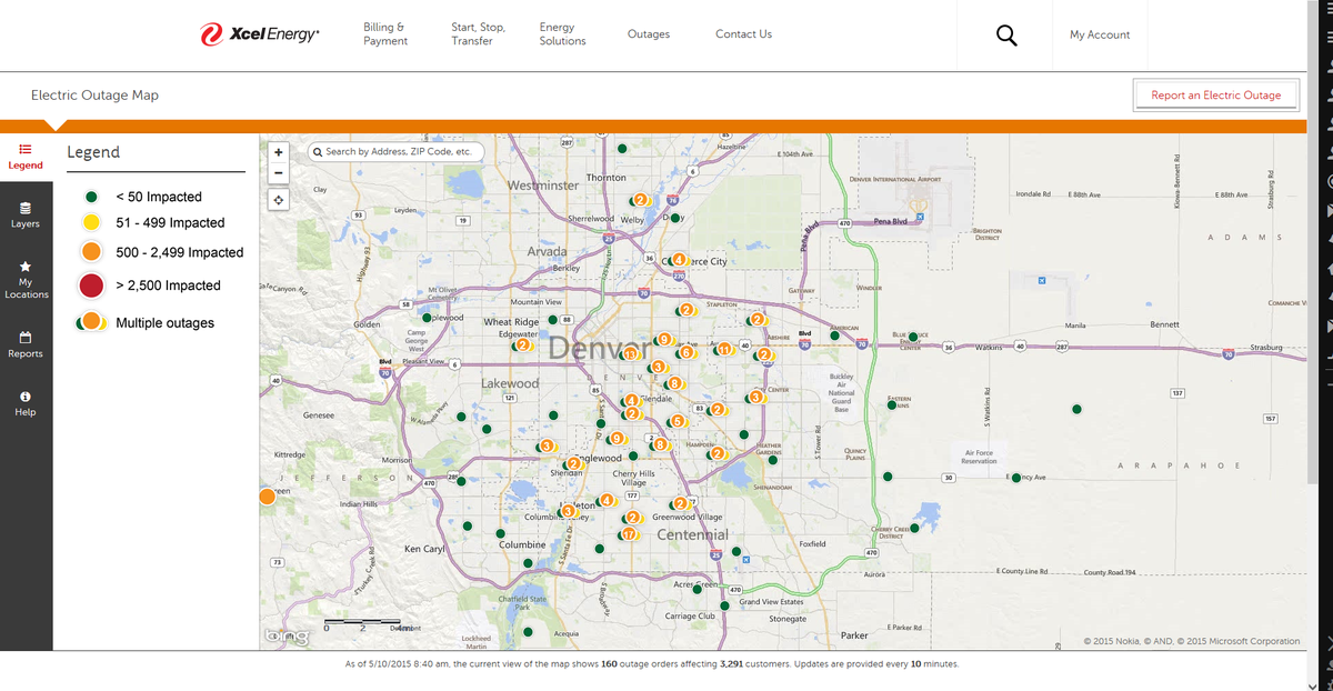 Current power outage map from xcel shows 160 outages in the denver ...