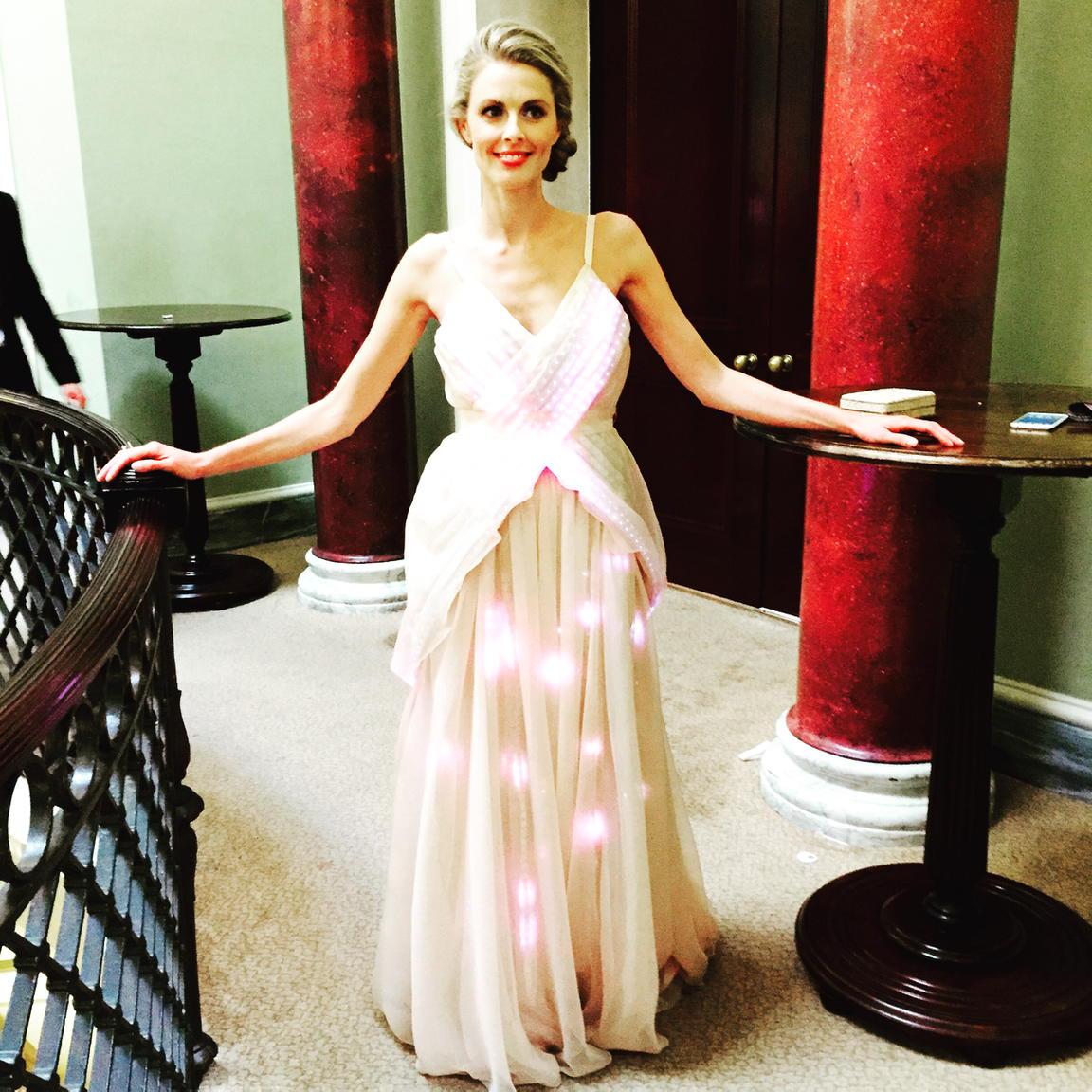 A team4 innovative dress @thisismimira @seeperarts @RebeccaStreet6 @1HQbrand agency @patfahy @baftatv @houseoffraser http://t.co/ReXCns5PT7