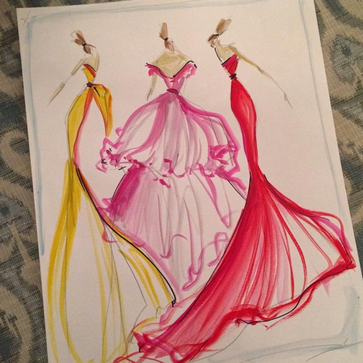 Sketch of the day: ladies in organza gowns. sketch prints and ...