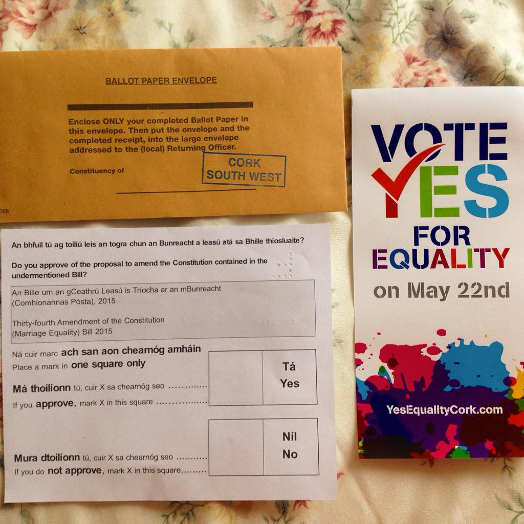 Today, with my postal vote, I'll be making one of the most important votes of my life. #VoteYes #YesEquality #MarRef http://t.co/NMEi1a4sfg