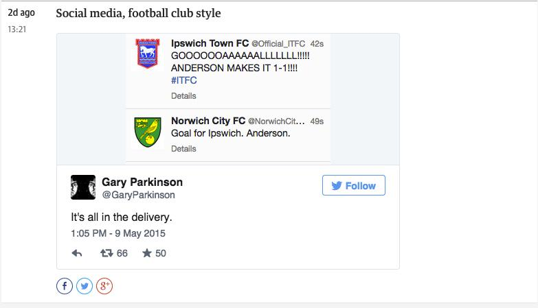 Social media, football club style. #ITFC #NCFC - taken from guardian football MBM http://t.co/deBVrs6i7F