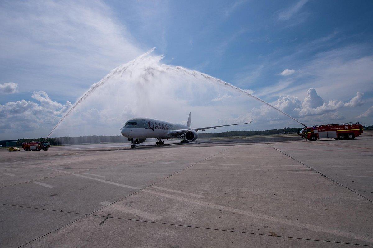 The inaugural QatarAirways @Airbus A350 service to Singapore Changi