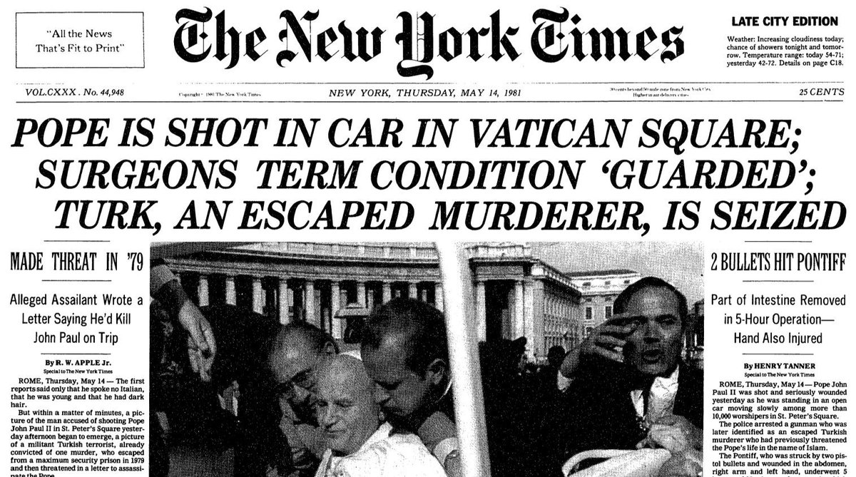 Image result for john paul II shot newspaper images
