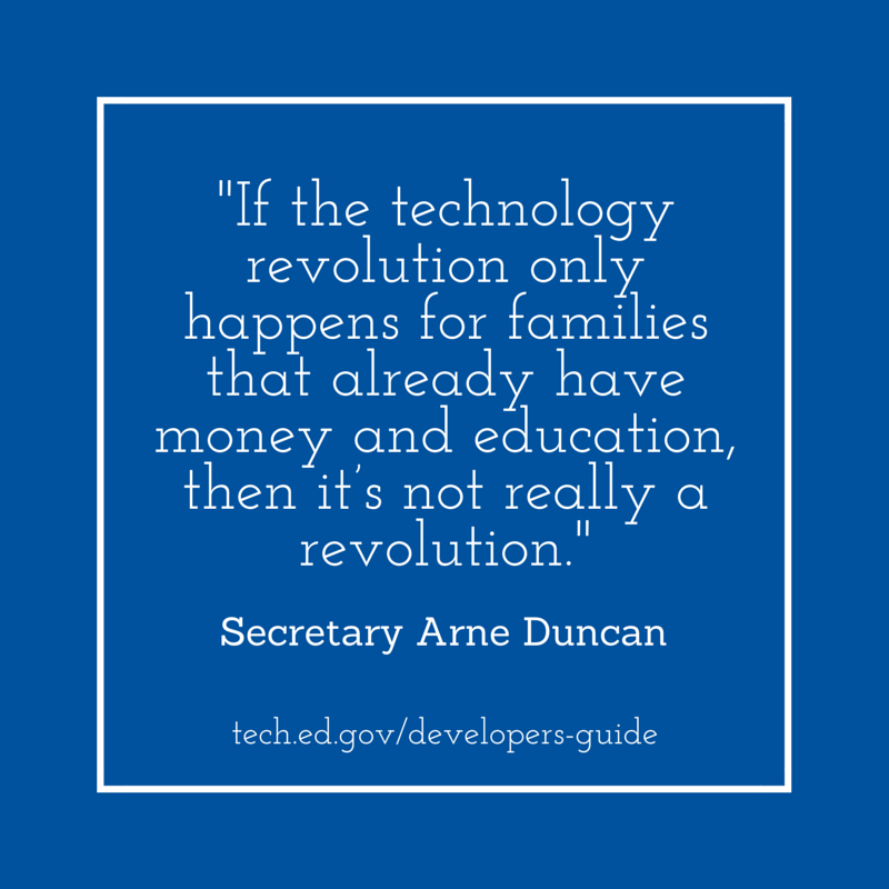 Great quote from Arne Duncan from launch of Ed Tech Developer's Guide #1776Challenge #edtechdev http://t.co/6hp5SGF1BO