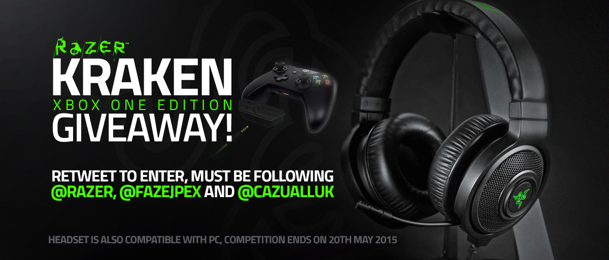 GIVEAWAY: Razer Kraken Xbox One Edition, RETWEET and Follow me (@FaZeJPEX) @CazuaLLUK and @Razer to enter! Ends 5/20 http://t.co/GKhmZxTe6l