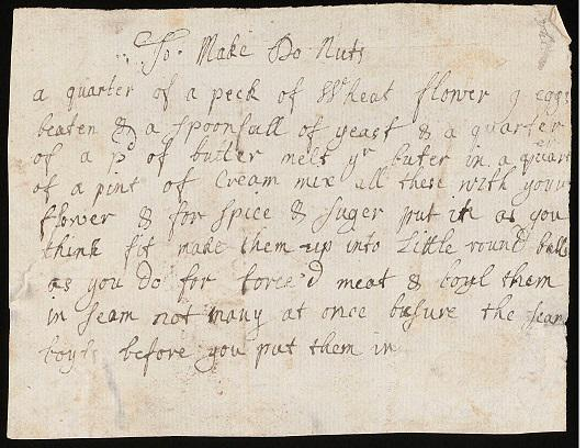 It's #NationalDoughnutWeek. Find my adaptation of this 17thC recipe in #GreatBritishBakes @WellcomeLibrary #MS8000 http://t.co/E5JHeKrby9