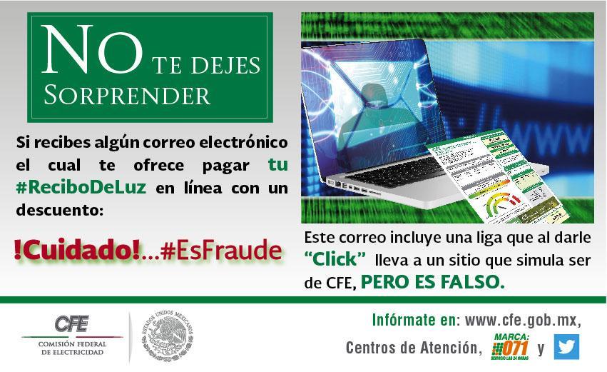 ¡Cuidado con correos que ofrecen pago del recibo de luz con descuento, #EsFraude, no des tus datos gracias por RT http://t.co/P7sJkM4WT0