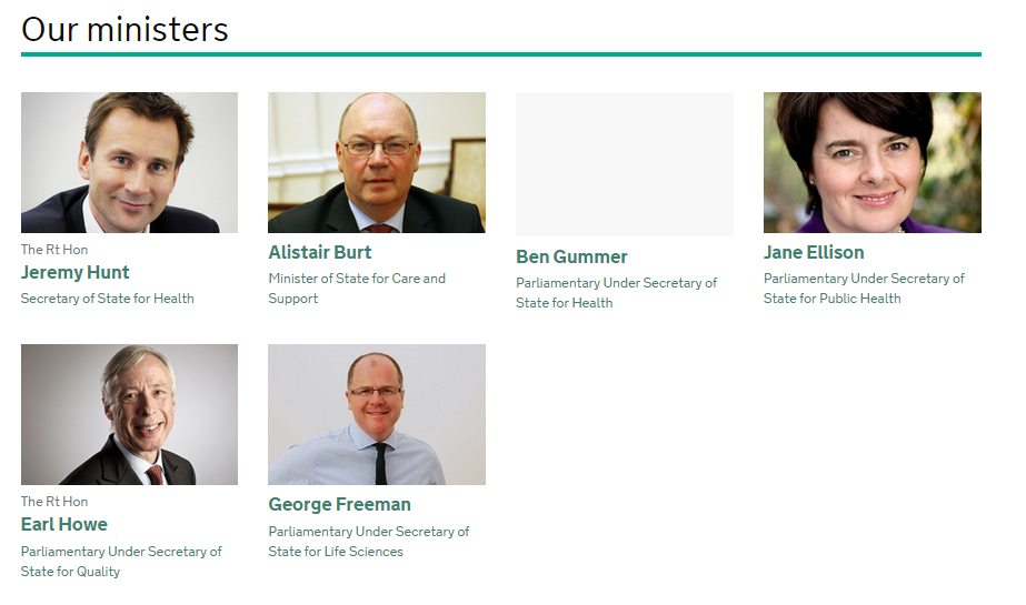 Appears to be the full new ministerial lineup at the department of health http://t.co/nQimtLI8iV