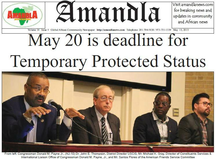 Reminder: May 20 is the deadline to register for Ebola-related Temporary Protected Status