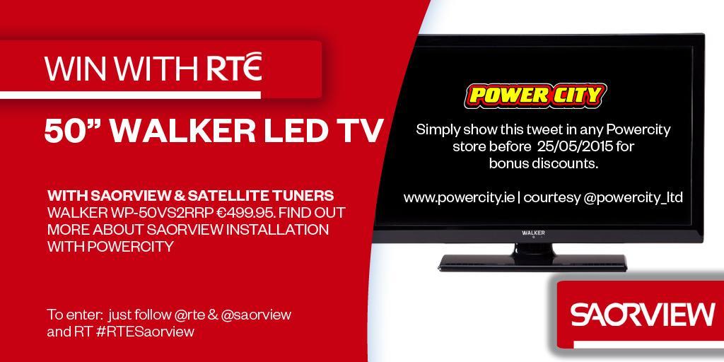 "Win a 50"" Walker LED @SAORVIEW approved TV courtesy @Powercity_Ltd. Just follow @rte & @SAORVIEW & RT #RTESaorview http://t.co/hOp0A272W1"
