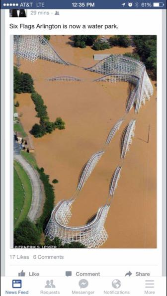Six Flags Over Texas is underwater. More rain coming in now. http://t.co/E9aLtqqroB