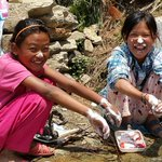 2 girls wash their hands in Dolakha - one of the districts hardest-hit by #Nepal earthquakes @unicef_nepal http://t.co/YhaNqlwuZz
