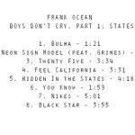 Frank Ocean - Boys Dont Cry, Part 1: States (TRACKLIST) Possibly releasing tonight. http://t.co/NGwRjUPMq3