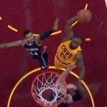 VIDEO: @KingJames dropped the hammer over 2 Hawks defenders with a nasty 1-handed dunk http://t.co/p3ftHvjDf2 http://t.co/lrOj6viTDi