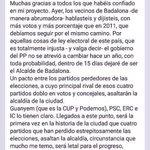 Lo mejor de hoy es que #Albiol #PP se despida ya de ser alcalde de #Badalona! Ya estamos #limpiandobadalona! #25M http://t.co/8iGnfB5FyF
