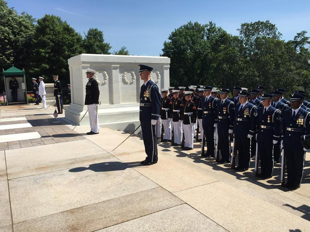 Troop formations at Tomb of the Unknown Soldier. #MemorialDay http://t.co/kTFyN6JUiR
