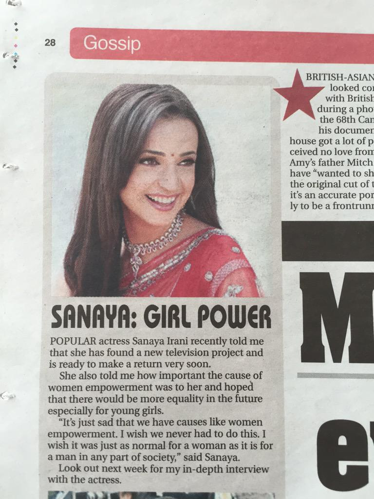 In my column this week. A teaser for big Sanaya Irani interview out this week & #Sanaya1000RTChallenge on Thursday